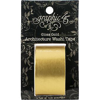 Graphic 45 Staples Architecture Washi Tape - Gloss Gold