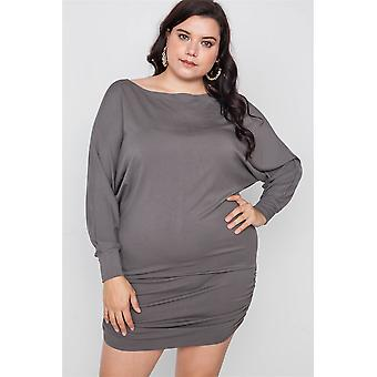 Plus size batwing basic mini jurk