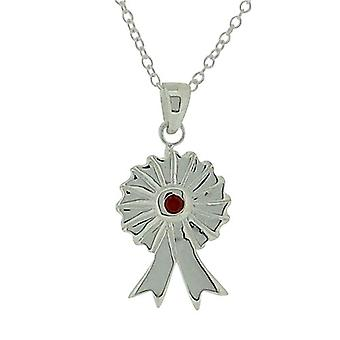 Jo For Girls Sterling Silver Red CZ Set Rosette Pendant Necklace 14
