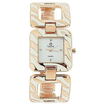 Taito London Ladies Mother Of Pearl Dial Rose Goldtone Metal Square Link Watch