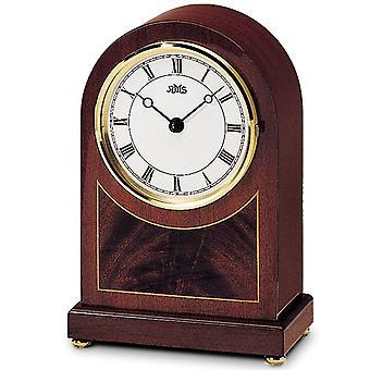 AMS 134/8 Table clock Style clock Quartz analog wooden mahogany veneered with brass