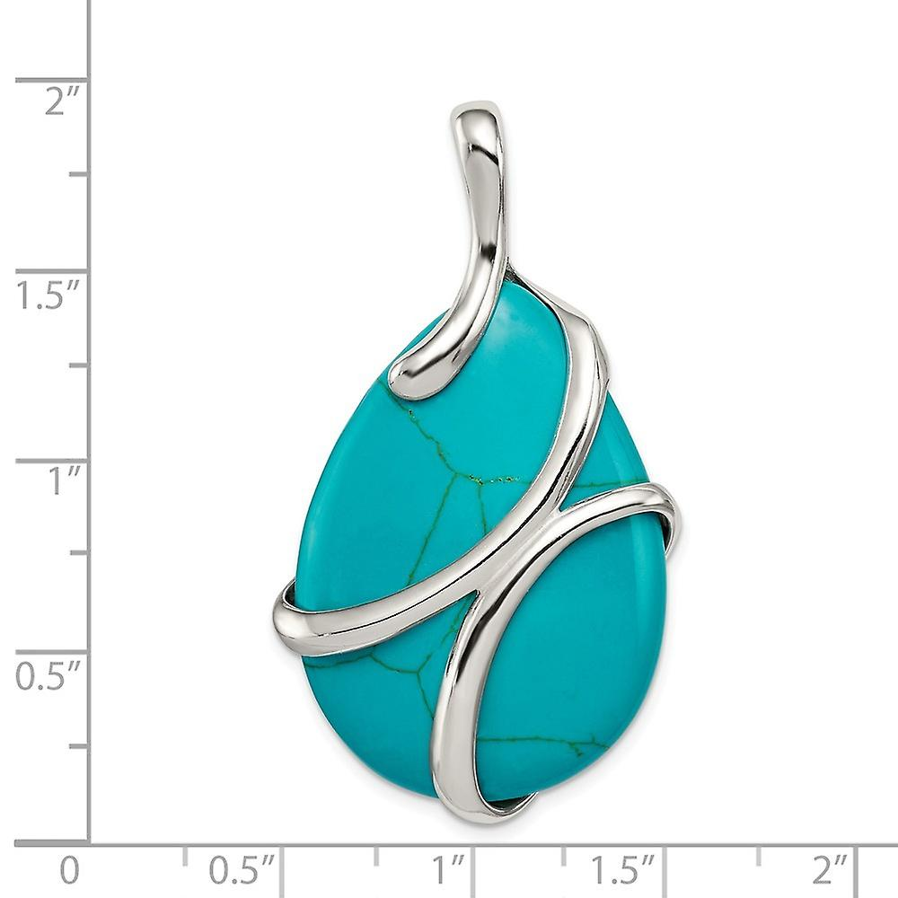925 Sterling Silver Polished Synthetic Simulated Turquoise Pendant Necklace Jewelry Gifts for Women