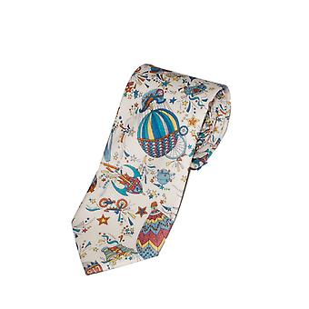White & Blue Liberty Art Fabric Hot Air Balloon Print Tie
