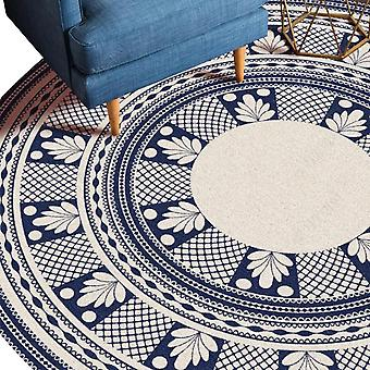 Round crystal velvet rug Multicolor ethnic style printed carpet Stylish and personality for bedroom and living room