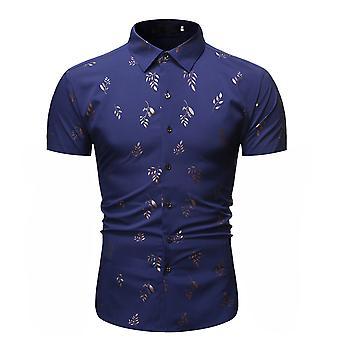 Allthemen Men's Bronzing Leaf Printed Comfortable Casual Short-Sleeved Shirt