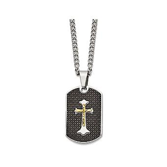 Mens Black Carbon Fiber Dog Tag Cross Pendant Necklace in Stainless Steel with Chain