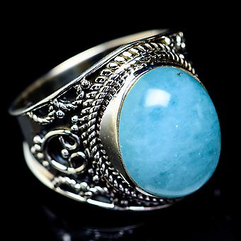 Natural Aquamarine Ring Size 8 (925 Sterling Silver)  - Handmade Boho Vintage Jewelry RING5459