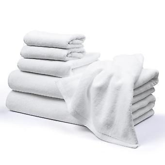Aquaterior Bathroom Towel Set Ring spun cotton Highly Absorbent Hand Towel Bath Towel Face Towel Hotel 6 Piece Set White