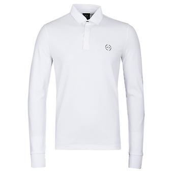 Armani Exchange Pique branco de manga longa fita camisa Polo