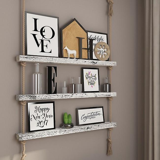 Halatli Shelf White Color, Ecru Wood, Juta, L100xP9xA125 cm
