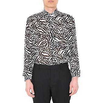 Saint Laurent 564172y1a729787 Männer's weiß/schwarz Wolle Shirt