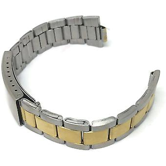 Watch bracelet stainless steel bi colour 12mm to 22mm with curved or straight ends