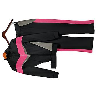 Masseys Set Women's Retro Style Color Blocked Track Set Black