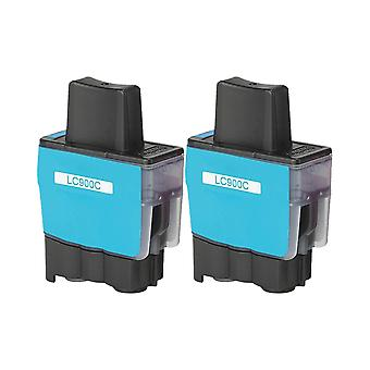 RudyTwos 2x Replacement for Brother LC-900C Ink Unit Cyan Compatible with DCP-110C, DCP-111C, DCP-115C, DCP-117C, DCP-120C, DCP-310, DCP-310CN, DCP-315C, DCP-315CN, DCP-340CN, DCP-340CW, Fax-1835, Fax