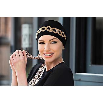 Chapéu de Joia Dourada Preta Yanna