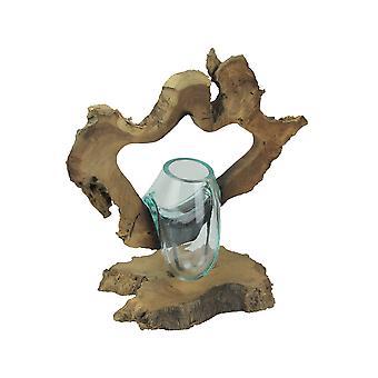 Framed Molten Glass Decorative Bowl / Succulent Terrarium On Natural Gamal Root Wooden Base