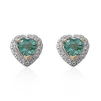 ILIANA 18ct Yellow Gold AAA Emerald Heart Stud Earrings White Diamond, 1 Ct