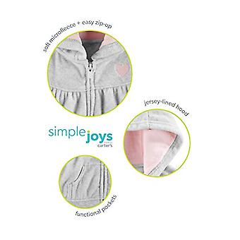 Simple Joys by Carter's Girls' 2-Pack Fleece Full Zip Hoodies, Light Gray/Pin...