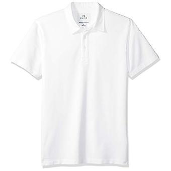 28 Palms Men's Relaxed-Fit Performance Cotton Tropical Print Pique Golf Polo Shirt, White Solid, Medium