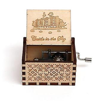 18 Tone Carved Wooden Hand Crank Music Box Collectible