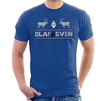 Disney Frozen Olaf y Sven Pixel Design Hombres's Camiseta
