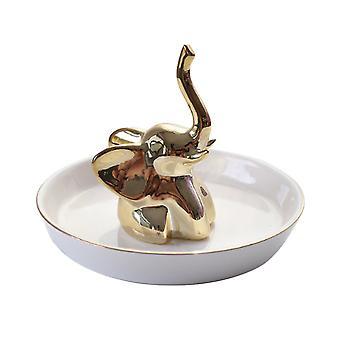 Weiße Keramik Schale Gold Elefant Schmuckring Halter 13.6x11.1cm