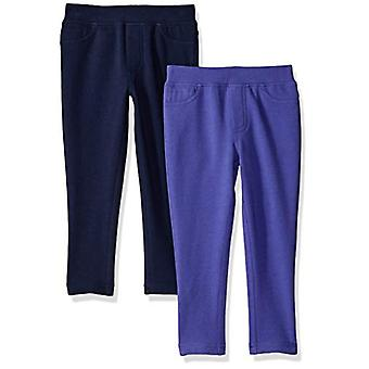 Brand - Spotted Zebra Little Girls' 2-Pack Knit Jeggings, Purple/Navy,...