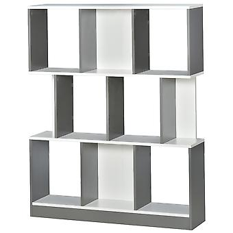 HOMCOM 3-Tier 8-Cube Home Office Display Unit Bookcase Shelving Unit Contemporary Stylish Versatile Freestanding w/ Anti-Tipping Safety Grey White