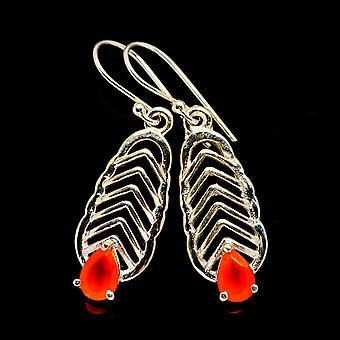 """Carnelian Earrings 1 1/2"""" (925 Sterling Silver)  - Handmade Boho Vintage Jewelry EARR404231"""