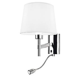 LED 2 Light Indoor Wall Light Chrome avec lampe de lecture, E27