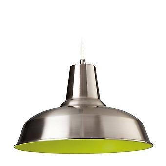 1 domo ligero colgante de techo de acero cepillado, verde en el interior, E27