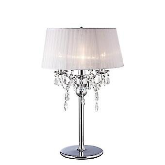 Ispirato Diyas - Olivia - Lampada da tavolo con White Shade 3 Light Polished Chrome, Cristallo