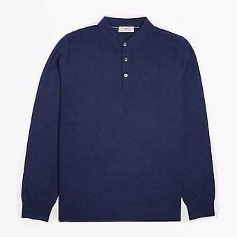 Thomas Maine  - Merino Polo Shirt - Blue