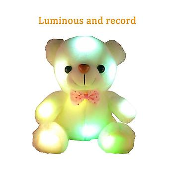 22cm 12seconds Sound Recording Colorful Luminous Glowing  Bear Plush Toy  For Kids  And Girls