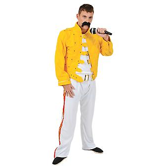 Orion kostuums mens geel Freddie Mercury 80s Rock Queen fancy dress kostuum