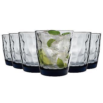 Bormioli Rocco Diamond Double Old Fashioned Tumbler Glasses Set - 390ml - Blue - Pack of 6