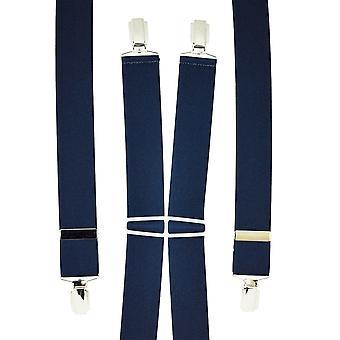 Ties Planeta Azul Marino Hombres's Pantalón Braces - Clips de Plata