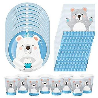 Bear Birthday Party Pack | 8 Bear Plates | 8 Paper Cups | 16 Paper Napkins