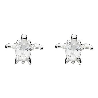 Dew Silver Small Turtle With White Cubic Zirconia Stud Earrings 3743CZ024