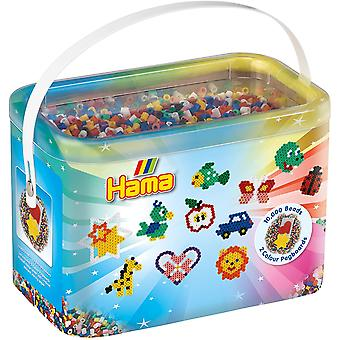 Hama 10,000 Beads & 2 Coloured Pegboards in Bucket