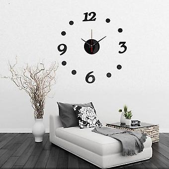 3D DIY numero tarra kehyksetön seinä kello huone sisustus