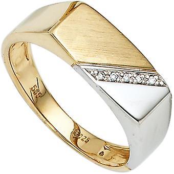Anello uomo 585 Oro Giallo Oro Oro Bianco Oro bicolore 5 Diamanti Anello Uomo