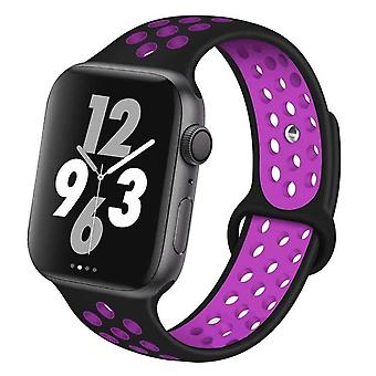 Convient à l'Apple Watch, bracelet en silicone en deux couleurs, Sports Breathable