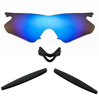 Polariserade ersättningslinser Kit för Oakley M Ramvärmare Blå Spegel Svart Anti-Scratch Anti-Glare UV400 av SeekOptics