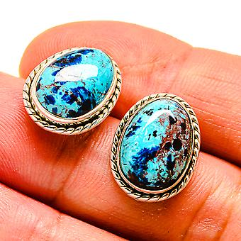 "Shattuckite Earrings 3/4"" (925 Sterling Silver)  - Handmade Boho Vintage Jewelry EARR408065"