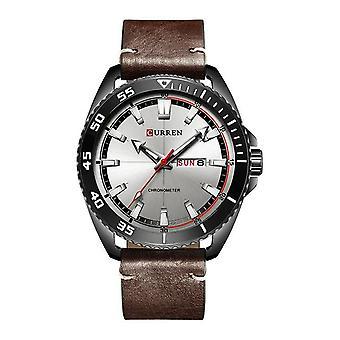 CURREN 8272 Calendar Date Display Men Watch Chronometer Genuine Leather Strap