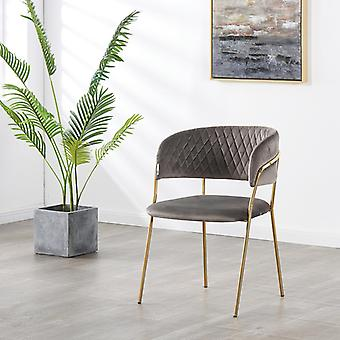 Pierre Lux Velvet Dining Chair Grey