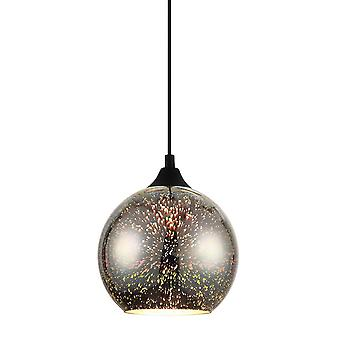 Preto pendente moderno preto, colorido 1 luz, E27