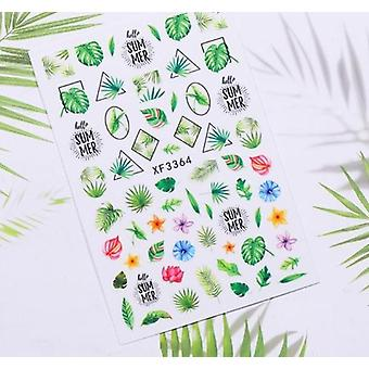 Flower, Leaves, Cute Cartoon And Animals Inspired 3d Nail Art Sticker