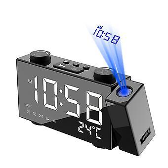 Projektion Väckarklocka LED Digital väckarklocka med temperatur Display FM Radio Dubbla väckarklockor